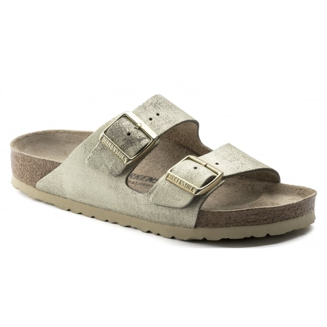 Birkenstock Arizona SL 1008798 Washed Metallic Cream Gold NARROW