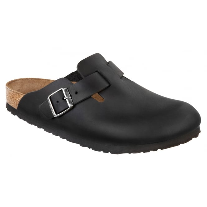 Birkenstock Clogs Boston 059461 Oiled Leather Black, Classic Clog
