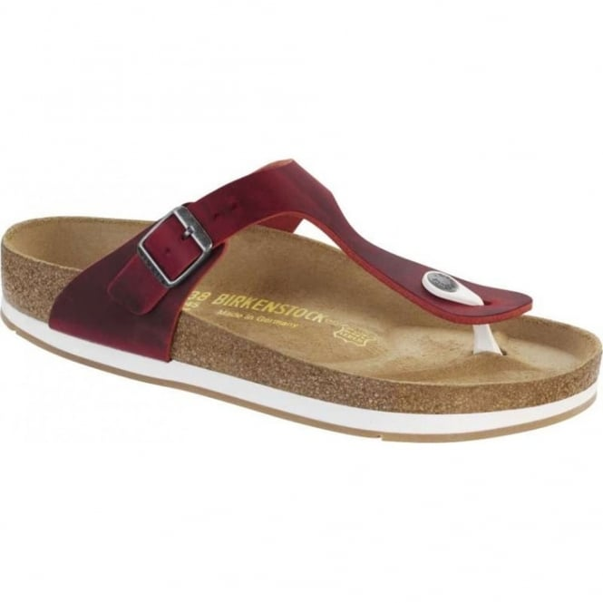 Birkenstock Gizeh 847891 Oiled Leather Red, natural leather upper toe post sandal