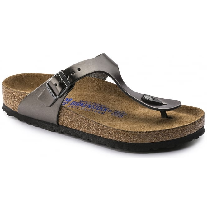 Birkenstock Gizeh NL 1003677 Metallic Anthracite Grey SOFT FOOTBED NARROW