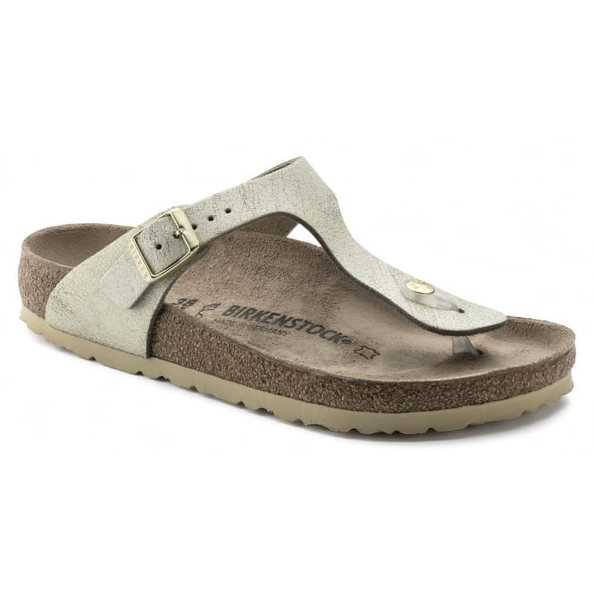 Birkenstock Gizeh SL 1008792 Washed Metallic Cream Gold NARROW