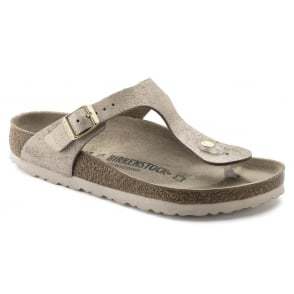 d6a933936c2 Birkenstock Gizeh NL 1003677 Metallic Anthracite Grey SOFT FOOTBED ...