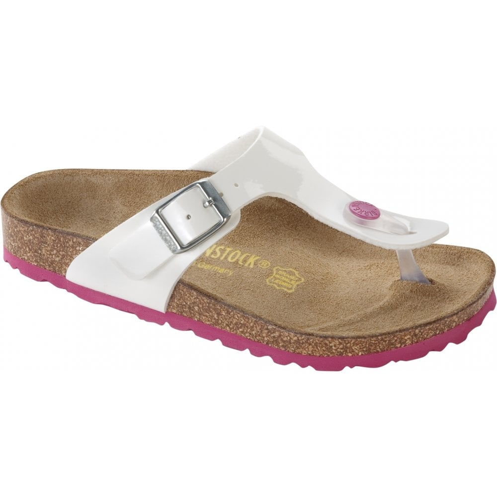 Birkenstock Kids Gizeh Patent White Pink 345083 f6df89f643