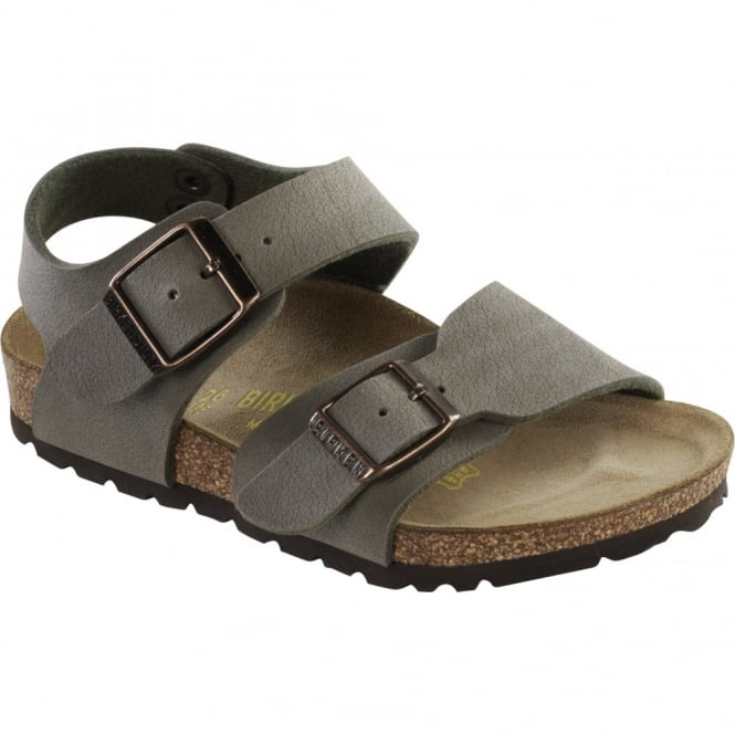 Birkenstock Kids New York Stone 087803, with two adjustable buckle straps NARROW