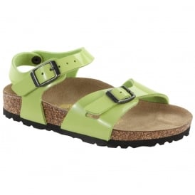 Birkenstock Kids Rio 731283 Green Glow Patent, Girls Birkie Sandal NARROW