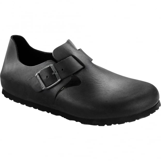 Birkenstock London Shoe Oiled Leather Black 166541, closed toe design with side buckle