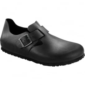 London Shoe Oiled Leather Black 166541, closed toe design with side buckle