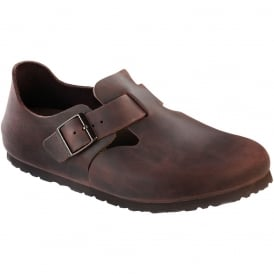 London Shoe Oiled Leather Habana 166531, closed toe design with side buckle