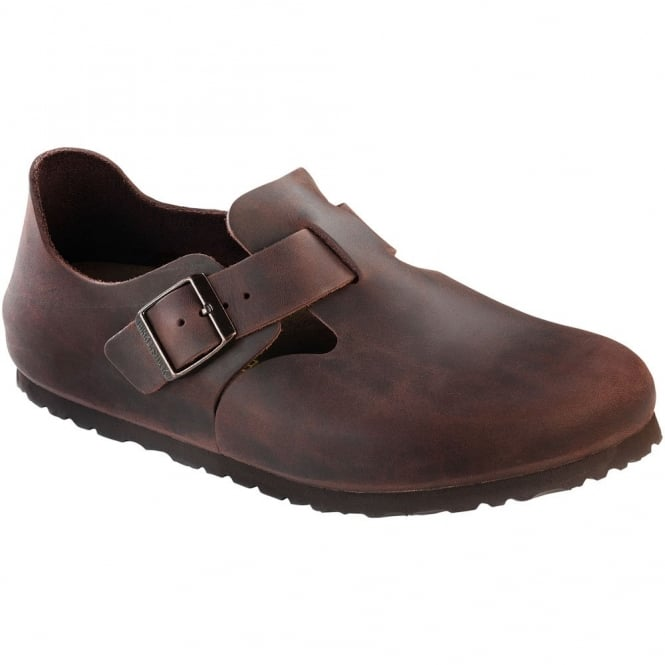 Birkenstock London Shoe Oiled Leather Habana 166531, closed toe design with side buckle REGULAR