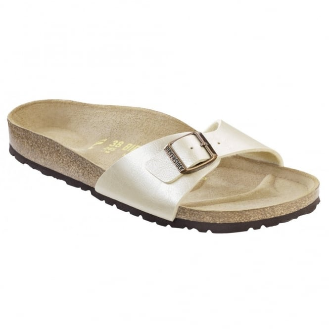 Birkenstock Madrid 940151 Pearl White Graceful, Popular single stap sandal REGULAR