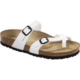 Birkenstock Mayari Patent White 071221, Cross-strap, toe loop sandal with an adjustable strap