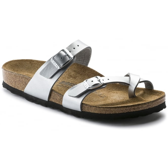 Birkenstock Mayari Silver 71081 REG, Cross-strap, toe loop sandal with an adjustable strap