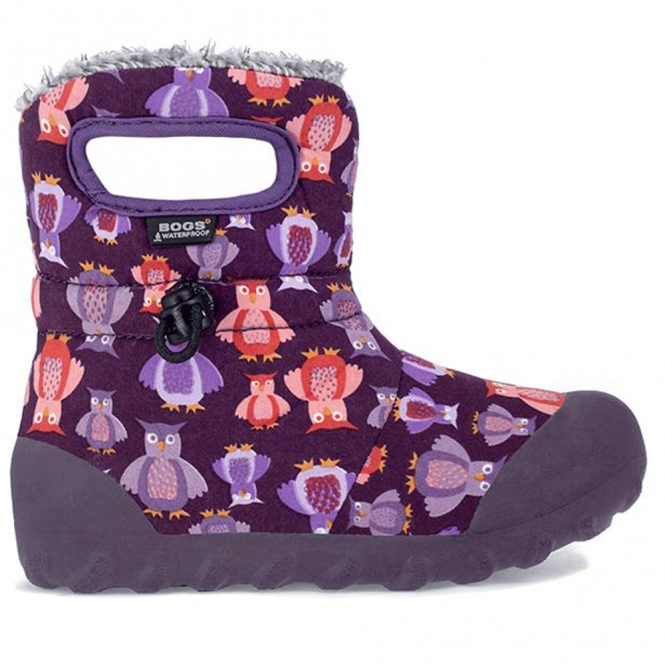 Bogs 720141 Infant B-Moc Puff Owl Purple Multi, 100% waterproof wellington boots with adjustable draw cord system