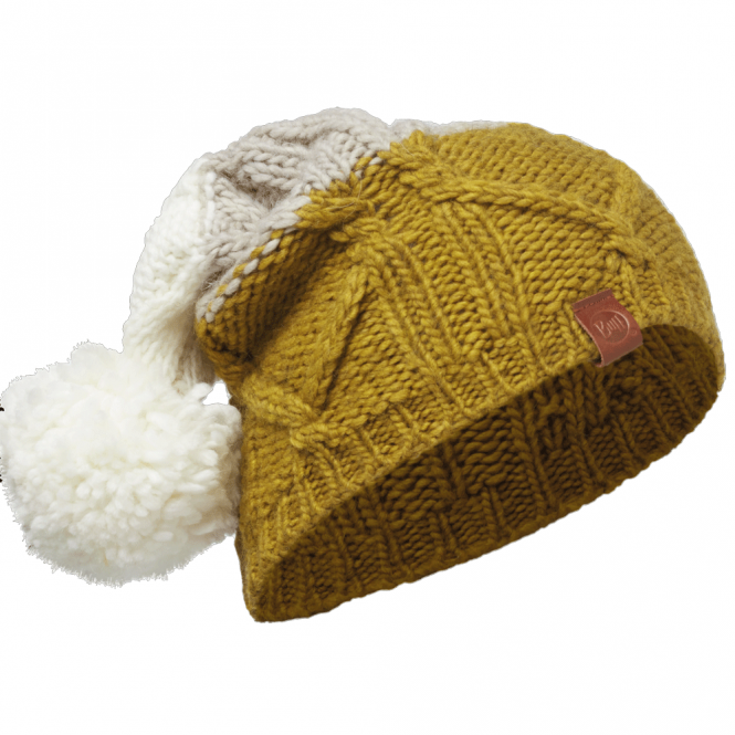 Buff Braid Knitted Bobble Hat Tobacco, warm and soft knitted hat