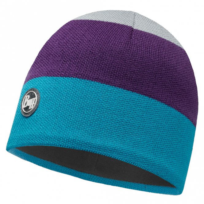 Buff Dalarna Knitted & Polar Fleece Hat Multi/Grey, warm and soft hat with inner fleece band
