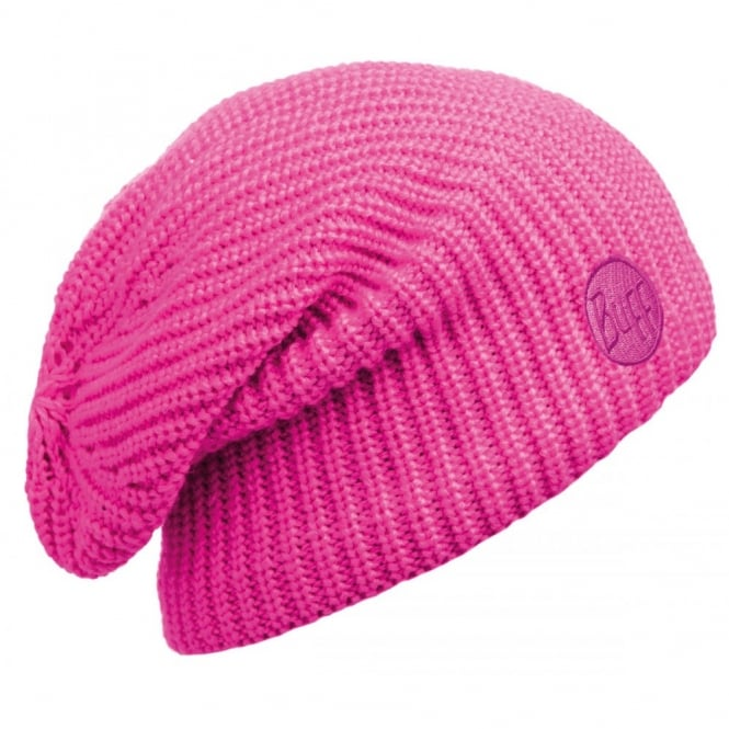 Buff Drip Hat Pink Fluor, Slouchy knitted hat with fleece inside