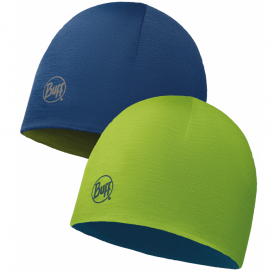 Kids Merino Wool Reversible Hat Lime/Deep Blue, warm and soft reversible hat