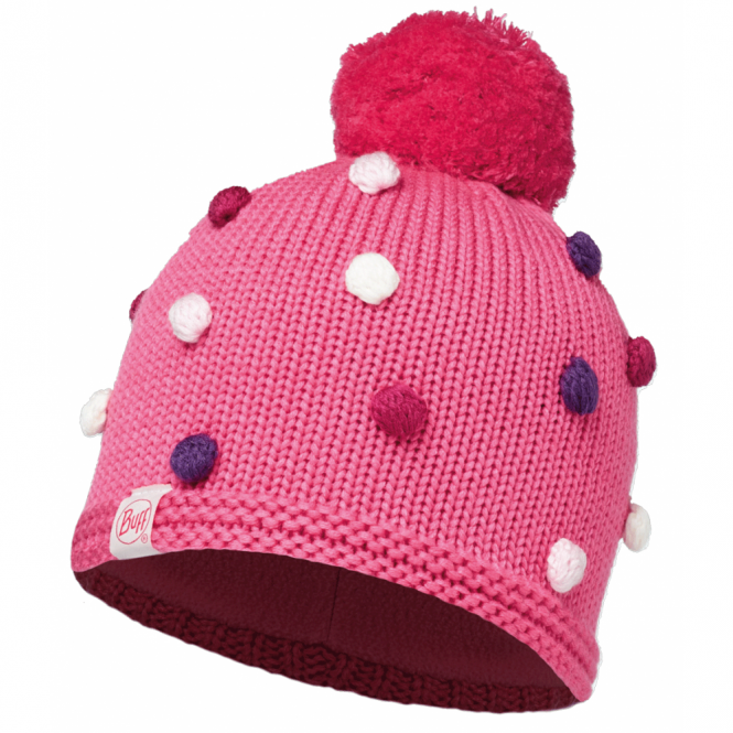 Buff Kids Odell Knitted & Polar Fleece Hat Ibis Rose/Raspberry, warm and soft hat with fleece lining