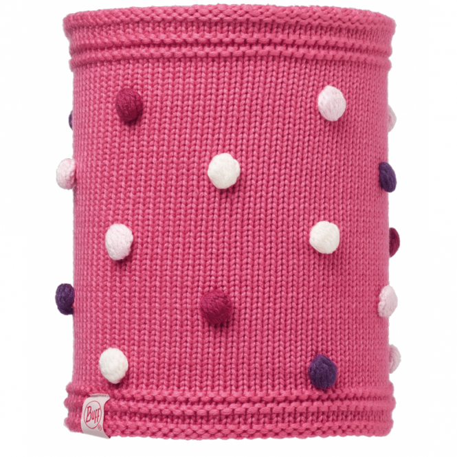 Buff Kids Odell Knitted & Polar Fleece Neckwarmer Ibis Rose/Raspberry, warm and soft neckwarmer with fleece lining