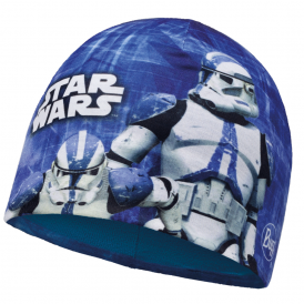 Kids Star Wars Microfiber & Polar Fleece Hat Clone Blue/Harbor, warm and soft hat with fleece lining