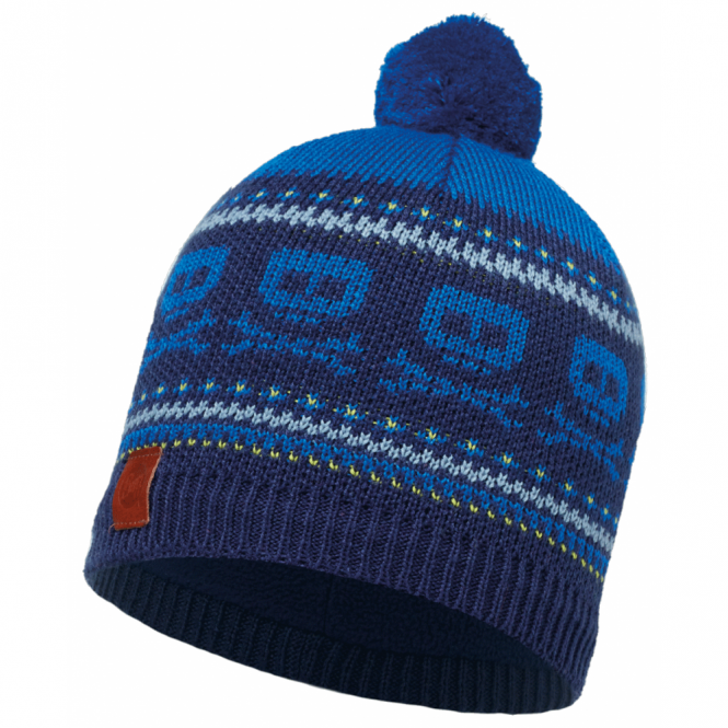 Buff Kids Twin Knitted & Polar Fleece Hat Medieval Blue/Navy, warm and soft hat with fleece lining