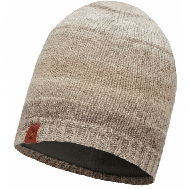 Buff Liz Knitted Hat Fossil/Cru Fleece, warm and soft hat with inner fleece band