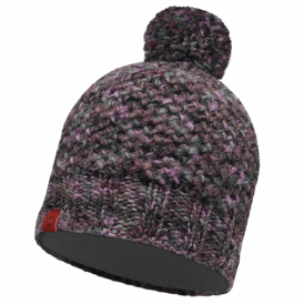 Margo Hat Plum/Grey, warm and soft knitted hat