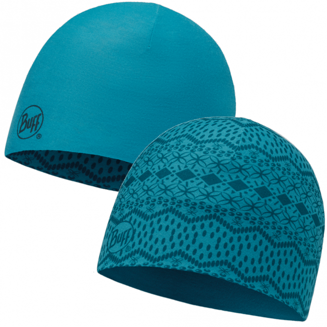 Buff Reversible Microfiber Hat Sen Blue/Blue Capri, ideal for outdoor activities or a base layer to protect from the cold
