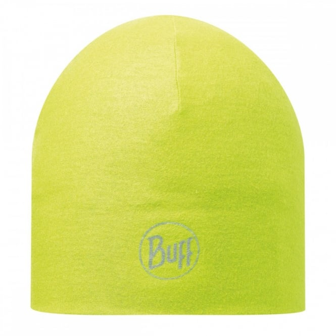 Buff Reversible Microfiber Hat Yellow Fluor, ideal for outdoor activities or a base layer to protect from the cold