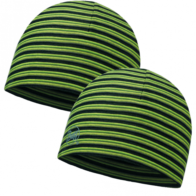 Buff Reversible Microfiber Hat Yellow Fluor Stripes, ideal for outdoor activities or a base layer to protect from the cold