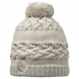 Savva Hat Cream, Chunky knitted bobble hat with fleece inside