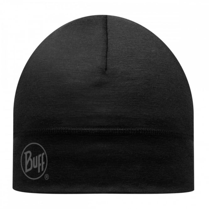Buff Single Layer Merino Wool Hat Black, ideal for outdoor activity or a perfect base layer to protect from the cold