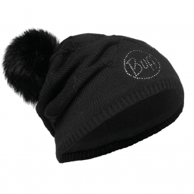 Stella Knitted & Polar Fleece Hat Chic Black, warm and soft hat with fleece lining