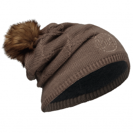 Stella Knitted & Polar Fleece Hat Chic Brown, warm and soft hat with fleece lining