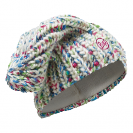 Yssik Knitted & Polar Fleece Hat Star White, warm and soft hat with inner fleece band