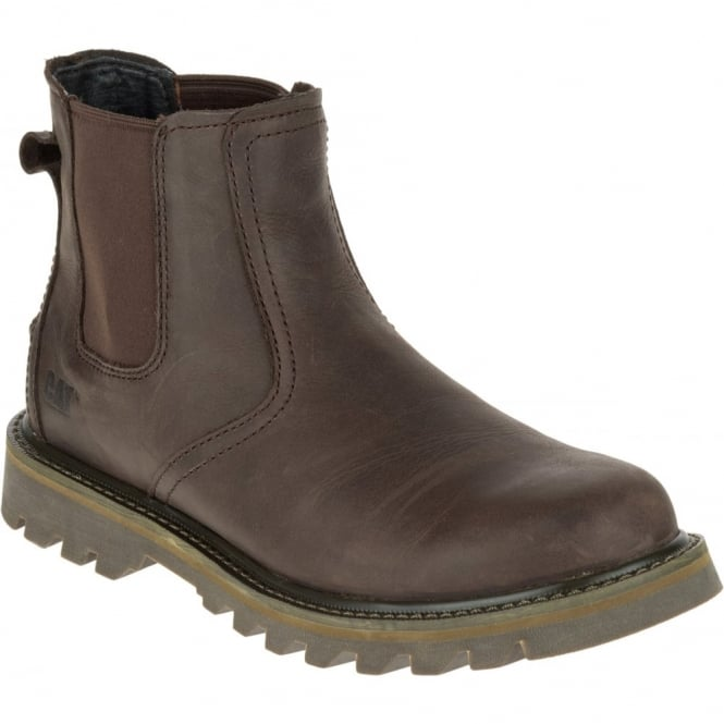 CAT Mens Stoic Dark Brown, mens leather slip on boot
