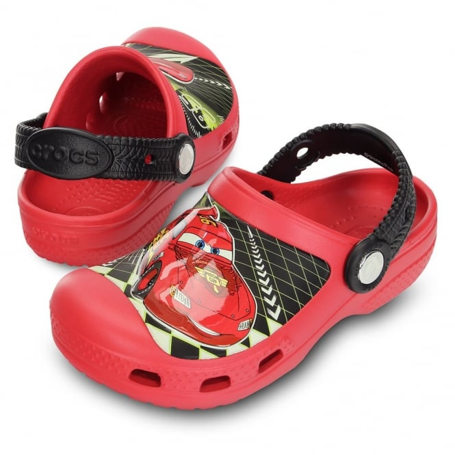 Crocs Creative Lightening McQueen Clog Red, Race around in comfort in clogs topped with Lightening
