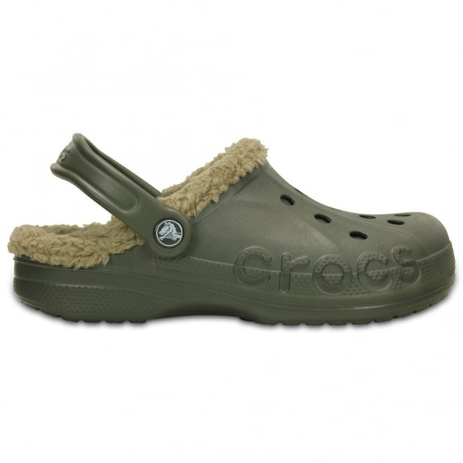 Crocs Baya Lined Dusty Olive/Khaki, Fully molded Croslite shoe with fixed fuzzy liner