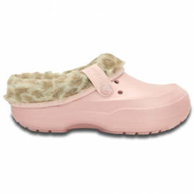 Blitzen II Clog Animal Print Pearl Pink/Stucco, warm and woolly easy to remove liner