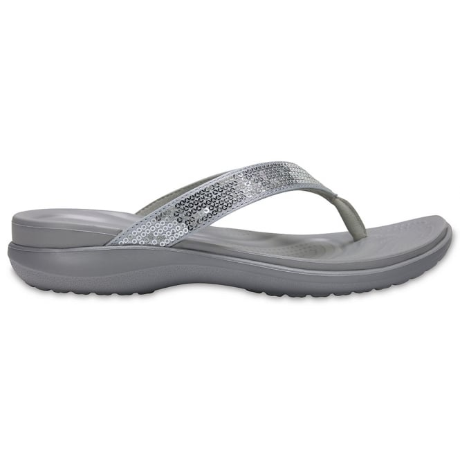 Crocs Capri V Sequin Flip Silver, add some sparkle with every step