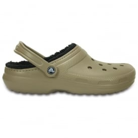 Classic Lined Pattern Clog Khaki/Black, all the comfort of the Classic Clog but with a warm fuzzy lining