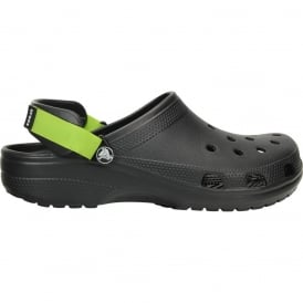 Classic Turbo Strap Clog Black/Volt Green, a classic croc with precise strap ajustment