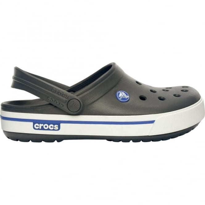 Crocs Crocband II.5 Clog Charcoal/Sea Blue, Retro styled slip on croslite shoe