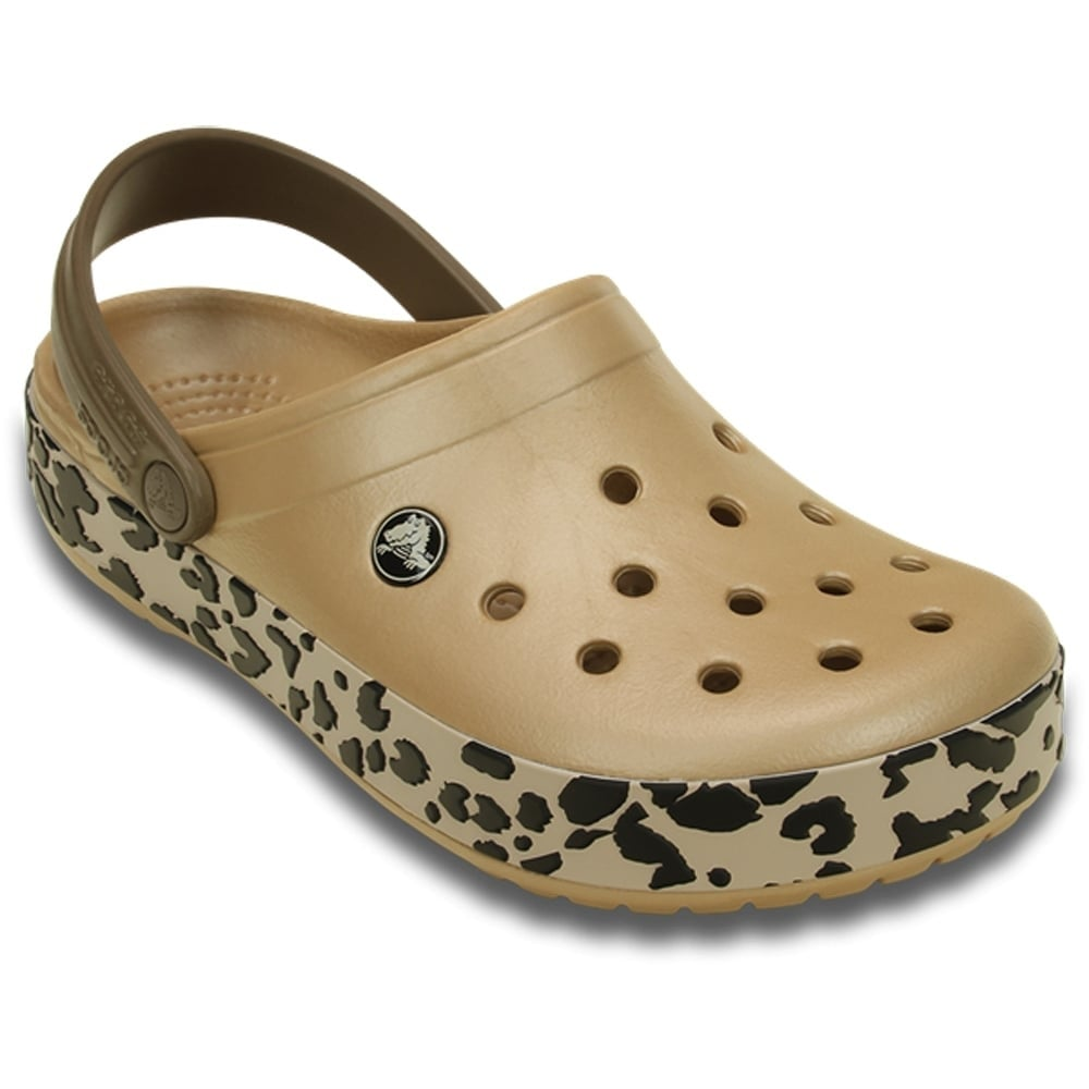 pick up factory authentic great deals Crocs Crocband Leopard Clog Gold/Black, the classic Crocband but with a  hint of animal print!