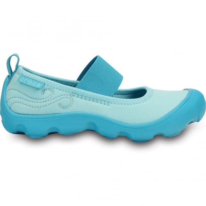 Crocs Girls Duet Busy Day Mary Jane (Childrens) Ice Blue/Surf, Stretchy neoprene upper for a comfortable fit