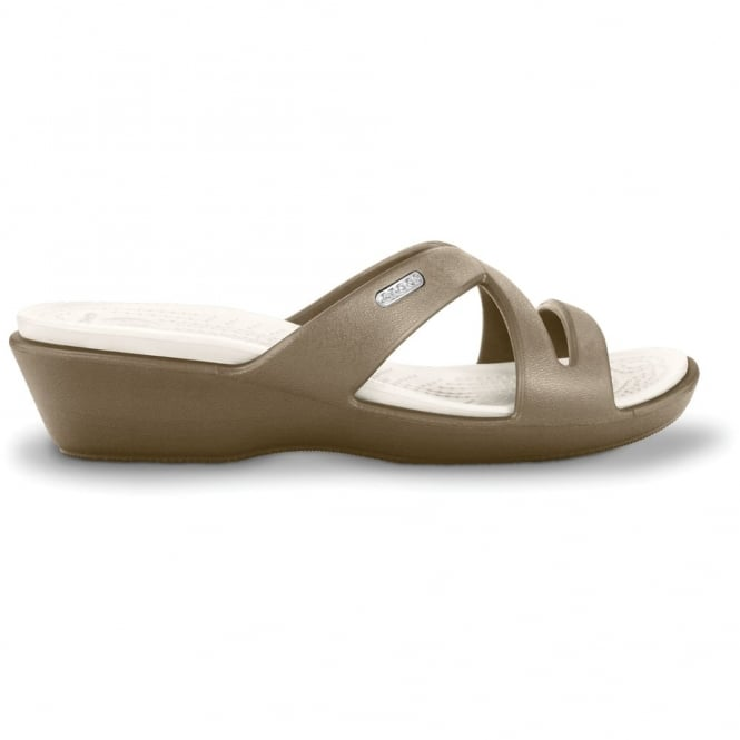 Crocs Patricia II Khaki/Oyster, Mini wedge sandal made entirely from Croslite