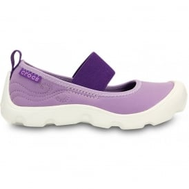 Girls Duet Busy Day Mary Jane (Childrens) Iris/Neon Purple, Stretchy neoprene upper for a comfortable fit