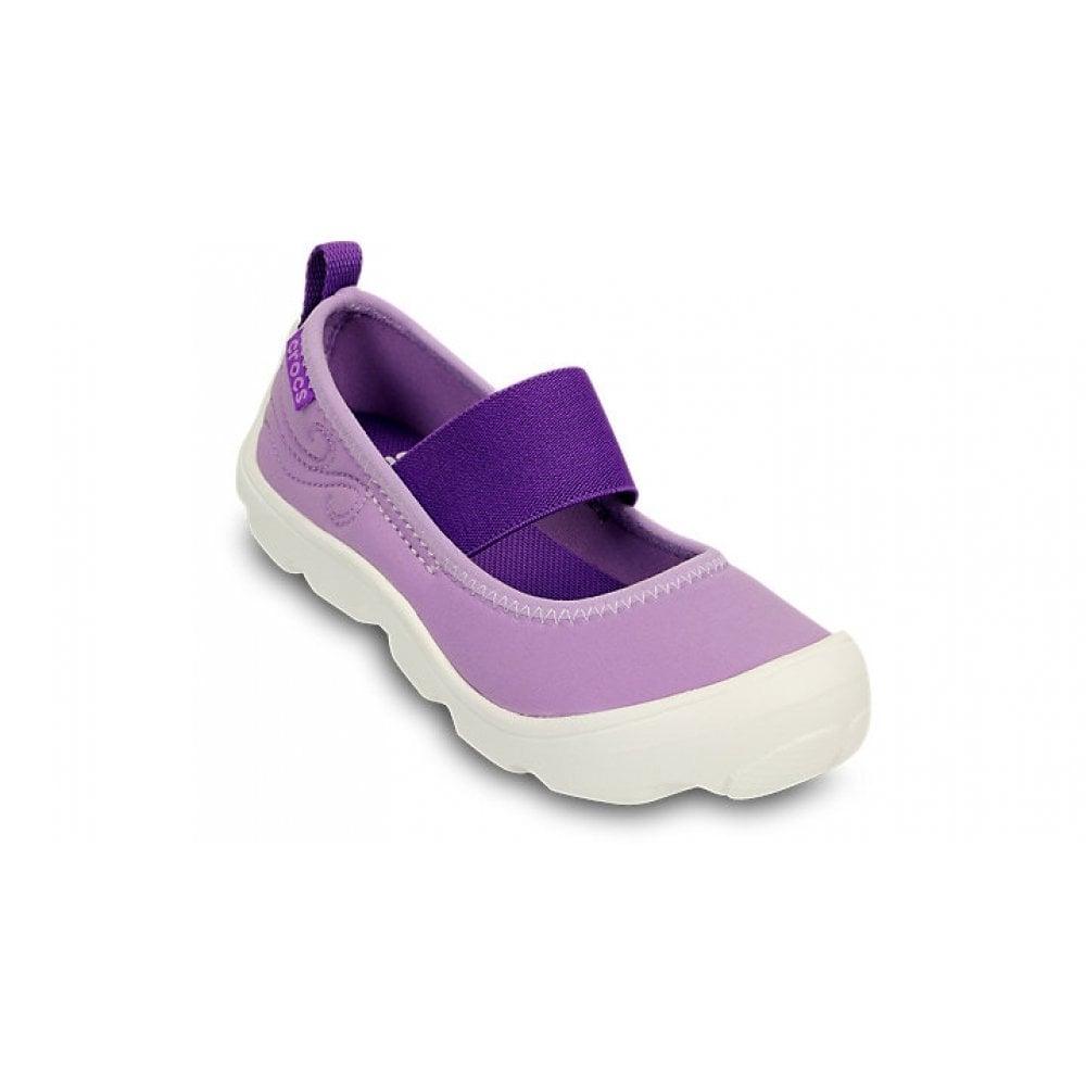 59cff4942b43 Crocs Girls Duet Busy Day Mary Jane (Childrens) Iris Neon Purple ...