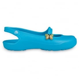 Girls Gabby Electric Blue, slingback ballet flat style shoe