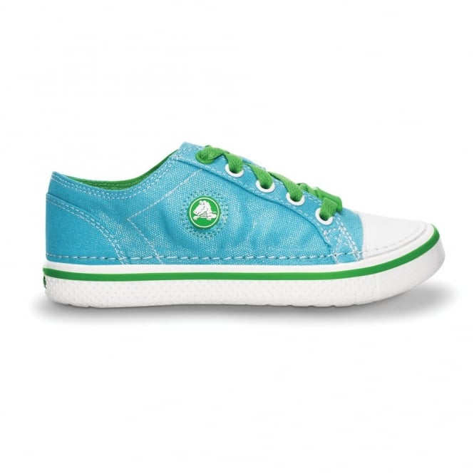 Crocs Girls Hover Sneak Metallic Aqua/Lime, Retro styled classic sneaker with a metallic shimmer